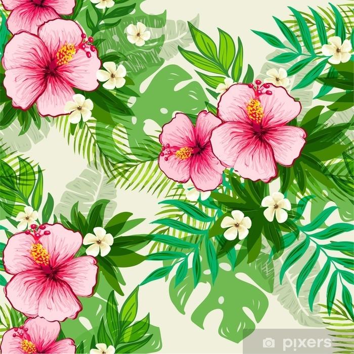 Fiori Tropicali.Carta Da Parati Seamless Pattern Esotico Con Foglie E Fiori