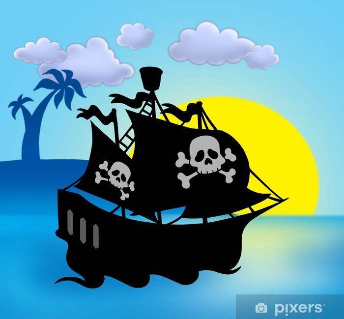 Plakat Zachód słońca z pirackim statku, sylwetka - Transport wodny