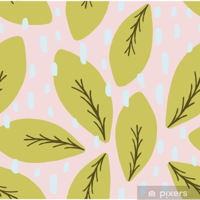 Vinil Duvar Resmi El yeşil ve kahverengi yaprakları ile çizilmiş seamless modeli pastel pembe bir arka plan üzerinde çekilmiş. - Çiçek ve bitkiler