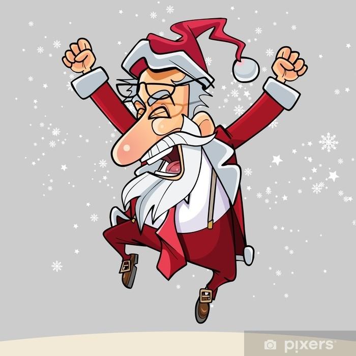 Imagenes De Papa Noel Animado.Fotomural Estandar Dibujos Animados Feliz Papa Noel Con Gafas Felizmente Salto