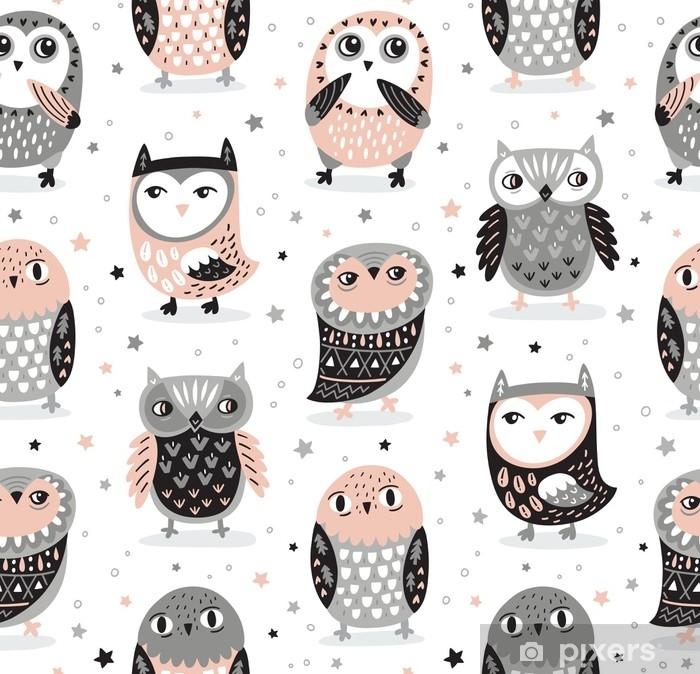 Fotomural Estándar Vector sin patrón con búhos de dibujos animados. decoración de guardería - Animales