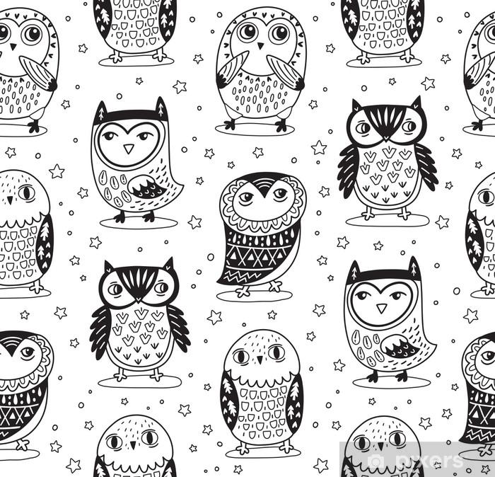 Vinilo Pixerstick Vector sin patrón con búhos de dibujos animados en ...