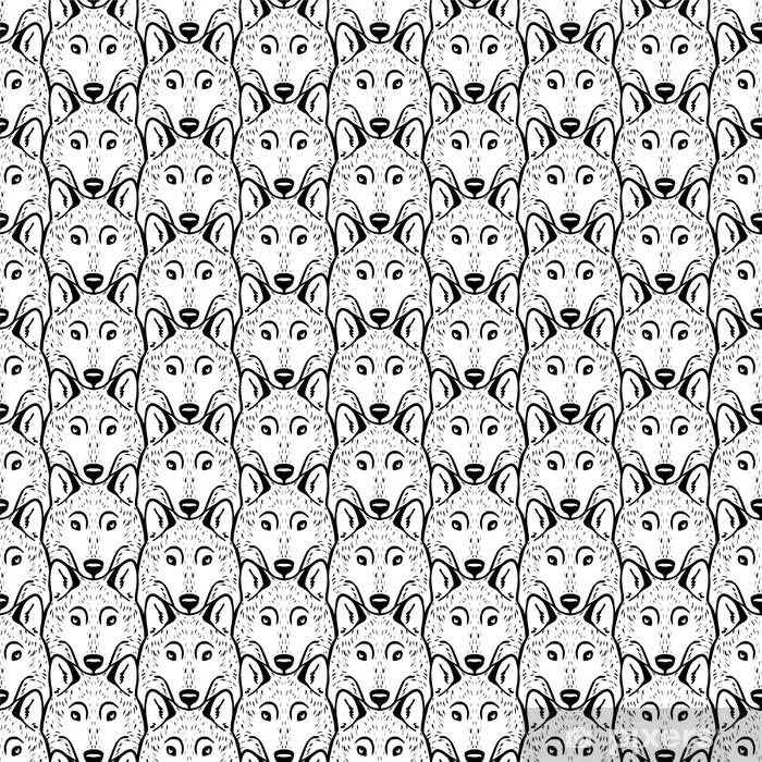 Vinylová fototapeta Bezproblémový vzor - hejno vlků. Černý a bílý. - Vinylová fototapeta