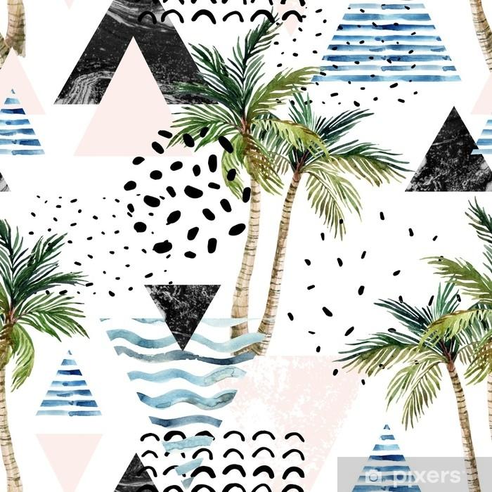 Naklejka Pixerstick Ilustracja z palmy, doodle, marmur, grunge tekstury, geometryczne kształty - Rośliny i kwiaty