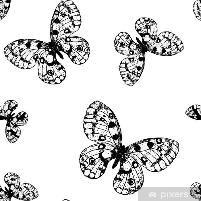 Siyah Beyaz Kelebek Parnassius Apollo Vektörel Dikişsiz Desen