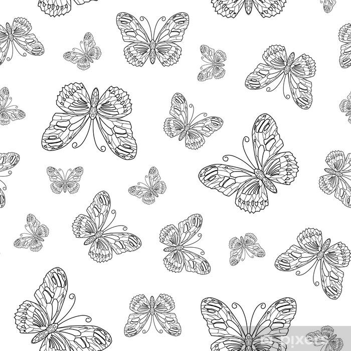 çıkartması Kelebek Kontur Vektörel Dikişsiz Desen Boyama Sayfa Kitap Arka Planı Pixerstick