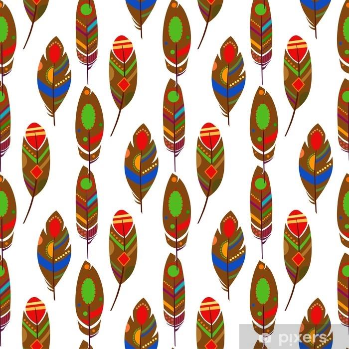 Poster Plumes de mode été vecteur modèle sans couture. texture de l'Afrique ethnique. impression de fond festive pour le tissu africain, papier peint, papier d'emballage et modèle de carte de boho. illustration vectorielle - Ressources graphiques