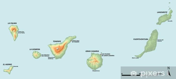 Fototapeta Mapa Kanarskych Ostrovu Pixers Zijeme Pro Zmenu