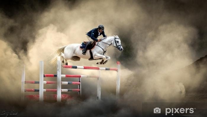 Zelfklevend Fotobehang Wit paard - Sport