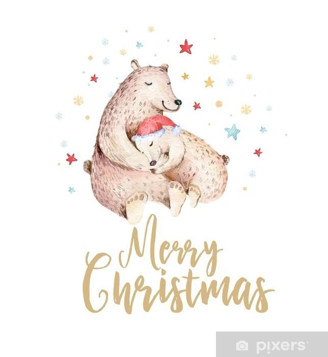 Plyšová deka Vánoční akvarel medvěd. roztomilé děti Vánoce v lese nese  zvířecí ilustrace, nový rok karty nebo plakát. ručně kreslený školka  izolované dítě zvířata malba. • Pixers® • Žijeme pro změnu
