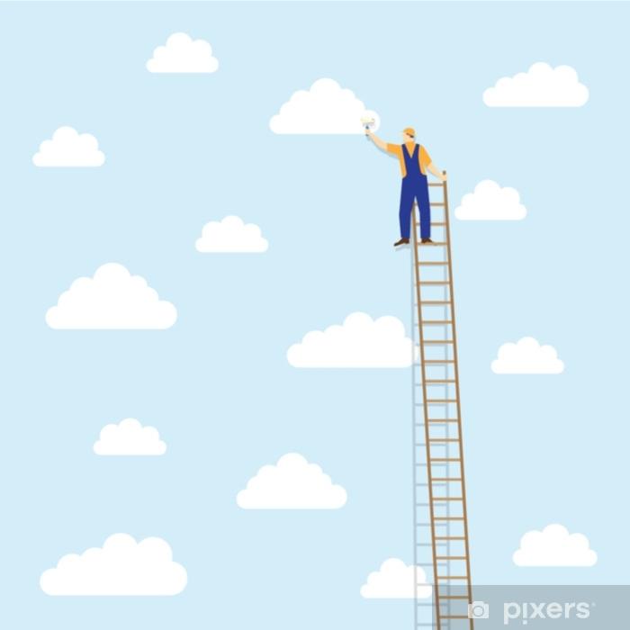 Vinyl Fotobehang Schilder op de ladder kleurt de wolken - Eten