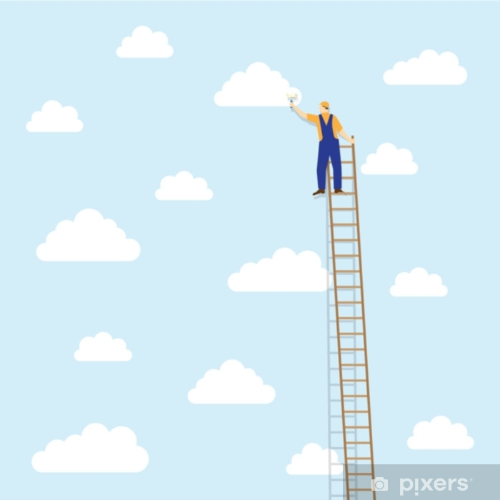 painter on the ladder colors the clouds Vinyl Wall Mural - Food