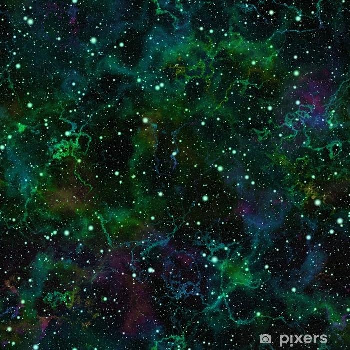 Carta da Parati in Vinile Universo verde brillante astratto, cielo stellato di notte della nebulosa, spazio cosmico lucido, fondo galattico di struttura, illustrazione senza cuciture - Scienze