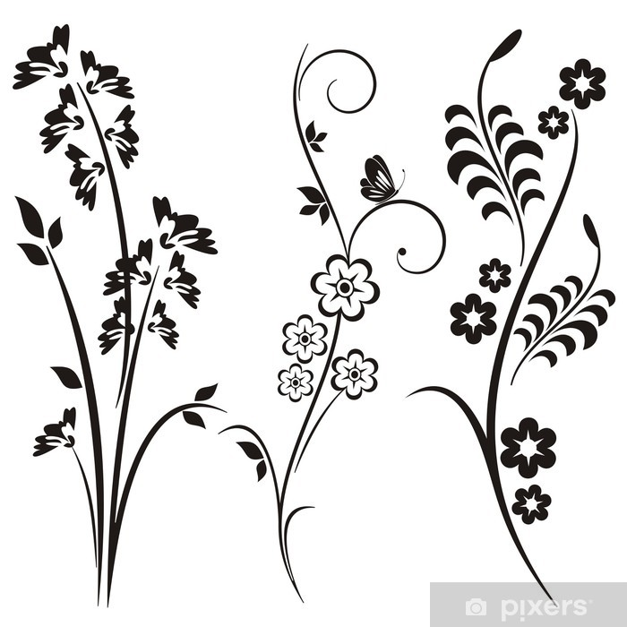 Japanese Floral Designs Vinyl Wall Mural - Themes