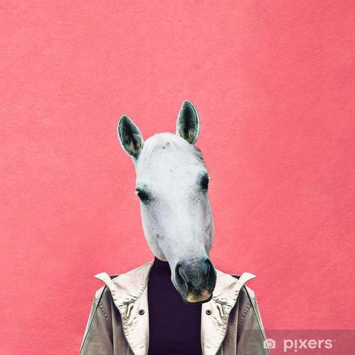 Fototapeta winylowa Kolaż współczesnej sztuki. człowiek koń na tle różowy ściana. jeansowy strój - Zasoby graficzne