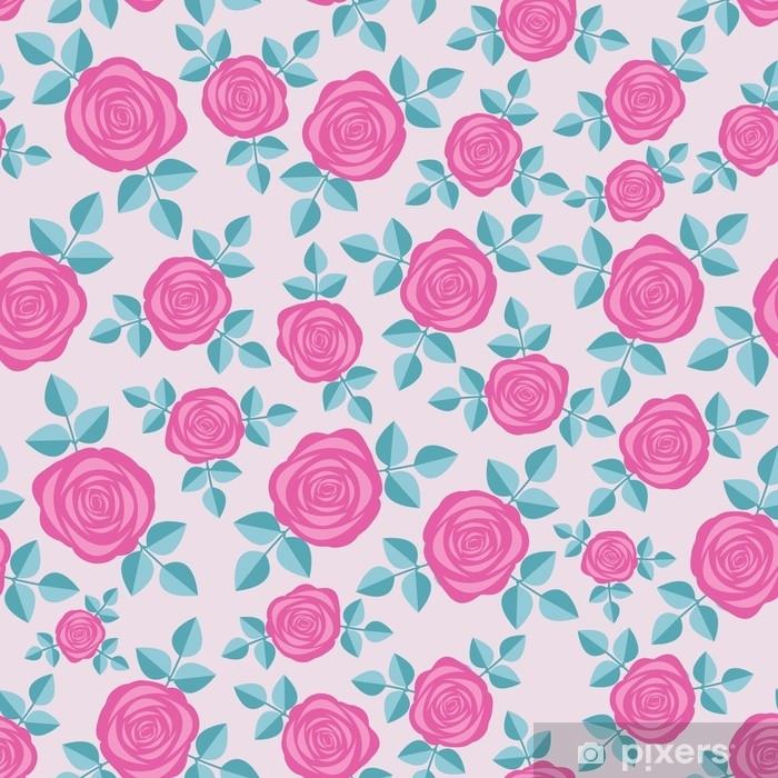 Pixerstick Aufkleber Nahtloses elegantes Blumenmuster mit rosa Rosen auf rosafarbenem Hintergrund. ditsy drucken. vervollkommnen Sie für das Scrapbooking, Gewebe, Vektor-Illustration des Packpapiers usw. - Grafische Elemente