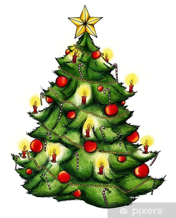 Weihnachtsbaum Comic.Weihnachtsbaum Christbaum Weihnachten Heiligabend Wall Mural Vinyl