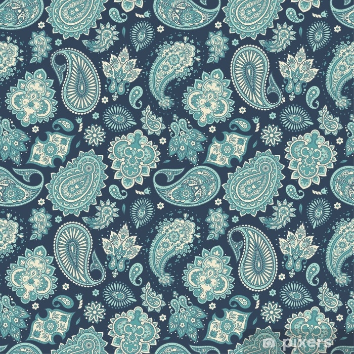 Floral seamless pattern with paisley ornament. Vector illustration in Asian textile style Poster - Graphic Resources