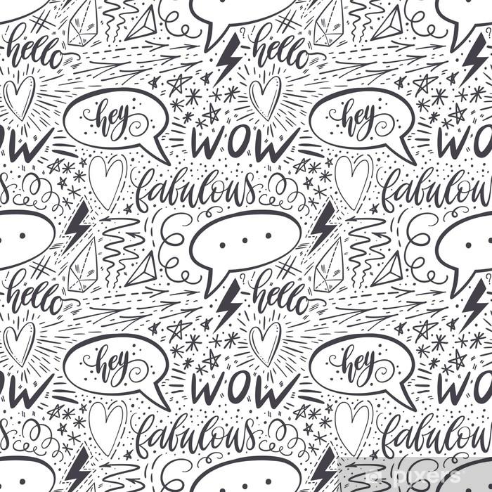 Naklejka Pixerstick Kaligrafia strony napis wzór. pozytywne znaki, gwiazda, serce, dymki, formy geometryczne. idealny do druku, tekstyliów, t-shirtów, futerałów na telefon. nowoczesna powierzchnia. ilustracji wektorowych - Zasoby graficzne