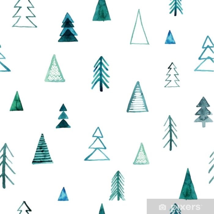 Fototapeta zmywalna Bez szwu akwarela wzór lasu. zielone drzewa na białym tle. abstrakcyjna akwarela ilustracji. może być stosowany do wypełnień deseniem, tapet, faktury tkaniny, tekstur powierzchni. - Rośliny i kwiaty