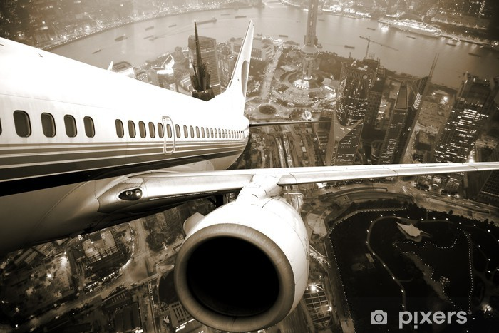Airplane take off from the city Vinyl Wall Mural -