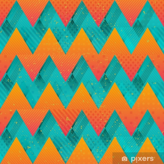 Poster Farbige Zickzack nahtlose Textur - Grafische Elemente
