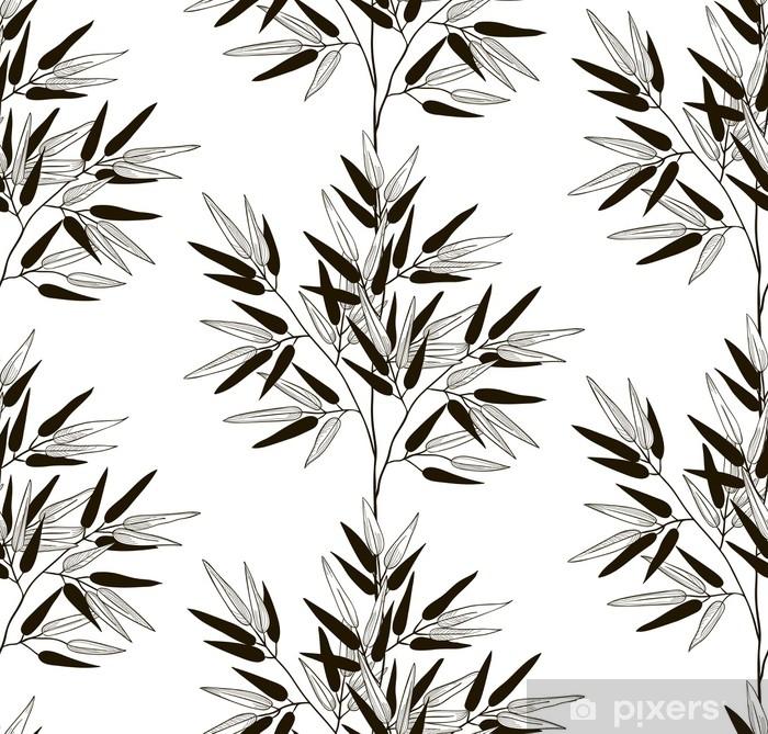 Poster Vector schwarzes nahtloses Muster mit gezeichneten Bambusblättern - Pflanzen und Blumen