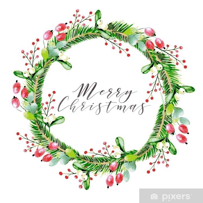 Decorazioni Natalizie Per Biglietti Di Auguri.Adesivo Illustrazione Vettoriale Dell Acquerello Ghirlanda Di Natale Con Rami Di Abete Rosa Canina E Bacche Di Rosa Gelder Biglietto D Auguri Disegnato A Mano Natale Natale Capodanno Decorazione Di Festa Biglietto Di Auguri
