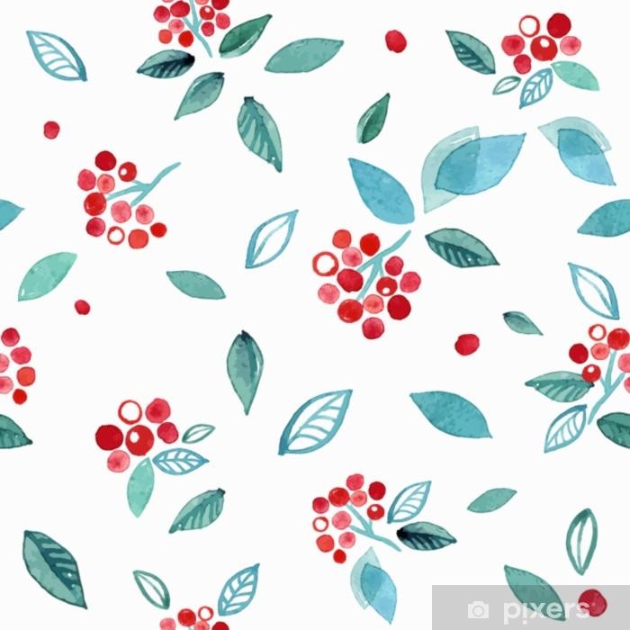 Fototapet av Vinyl Akvarell sömlösa mönster med grenar rowan bär. vinter söt handritad bakgrund. - Växter & blommor