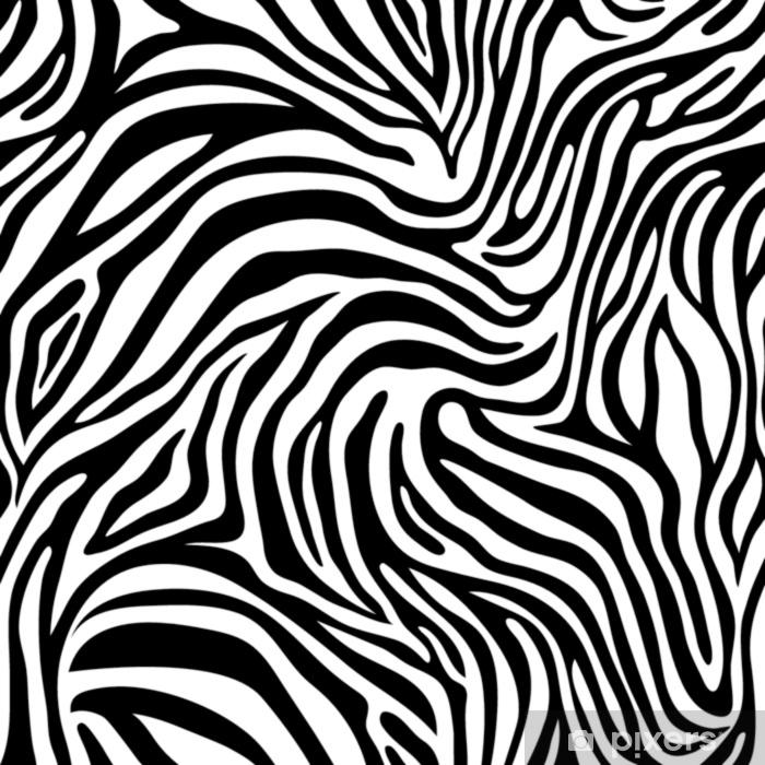 94a7208ee36170 Fototapeta winylowa Bez szwu wzór skóry zebry. tapeta z czarnymi paskami na  białym tle. Paski zebry, kamuflaż myśliwski.