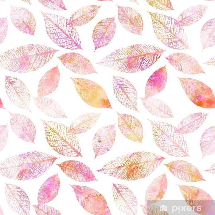 Vinyl Fotobehang Naadloze achtergrondpatroon van roze afgezwakt aquarel verlaat - Bloemen en Planten