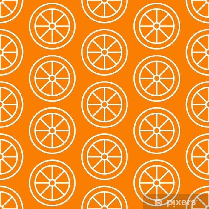 Orange slice seamless pattern, vector background  Repeated bright texture  for cafe menu, fruit shop healthy food wrapping paper  Door Sticker