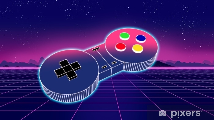 retro game controller on colorful background 3d illustration Self-Adhesive Wall Mural - Hobbies and Leisure