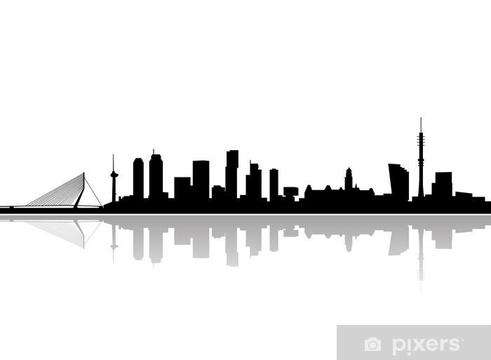 Vinyl Fotobehang Rotterdam skyline vector - Muursticker