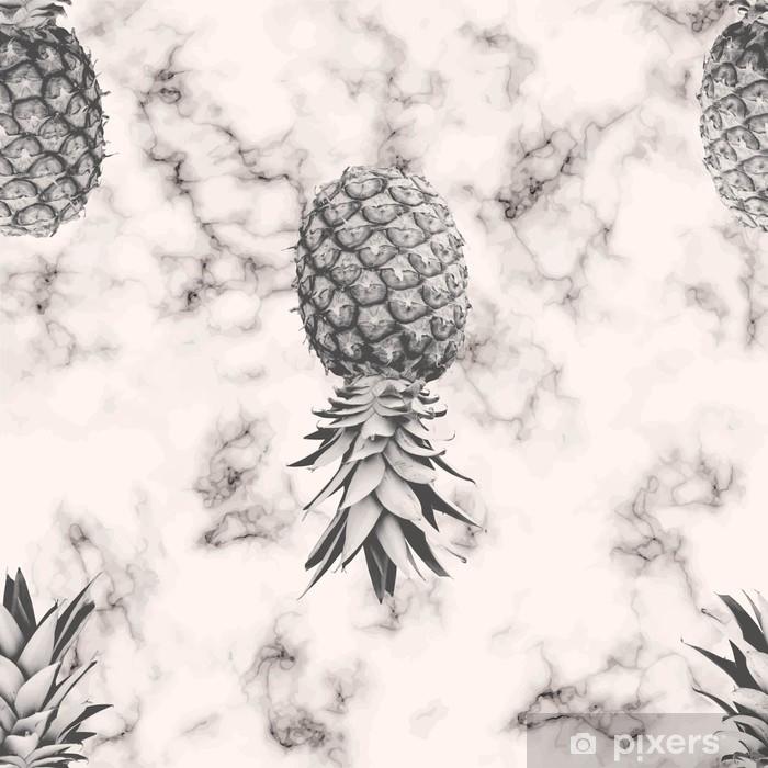 Pixerstick-klistremerke Vektor marmor tekstur sømløs mønster design med ananas, svart og hvitt marmor overflate, moderne luksuriøs bakgrunn, vektor illustrasjon - Mat