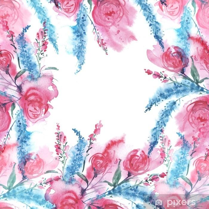 43a82134295b34 Fototapeta winylowa Akwarela kartkę z życzeniami z kwiatami. vintage  rysunek róż, niebieskie lawendy, pola i ogrodnictwo kwiaty w pęczku.  bezszwowe tło, ...