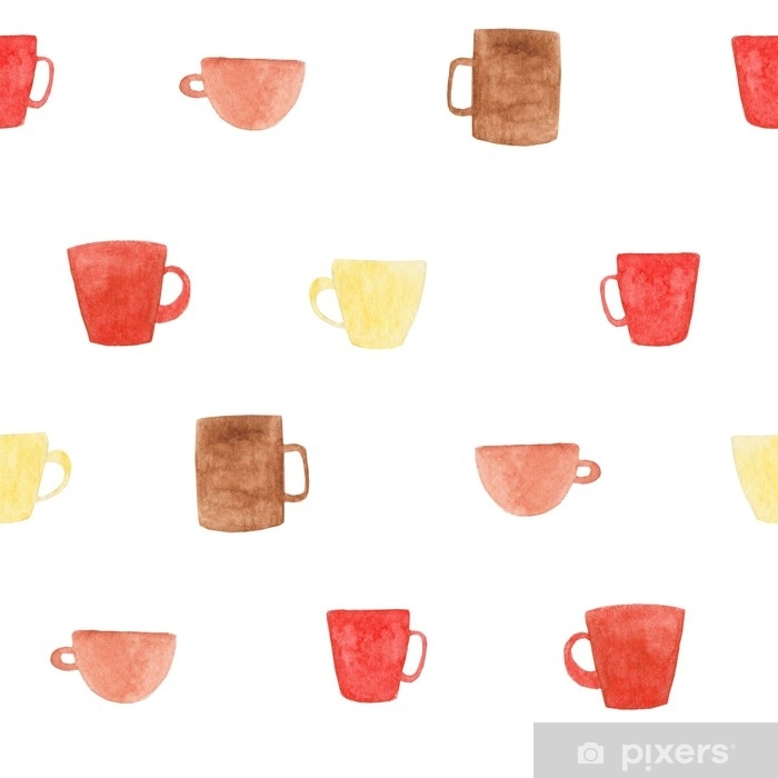 watercolor coffee mugs pattern illustration for design print or background wall mural pixers we live to change watercolor coffee mugs pattern illustration for design print or background wall mural pixers we live to change