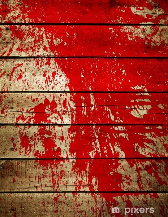 Afwasbaar Fotobehang Rode verf splash op houten plank - iStaging