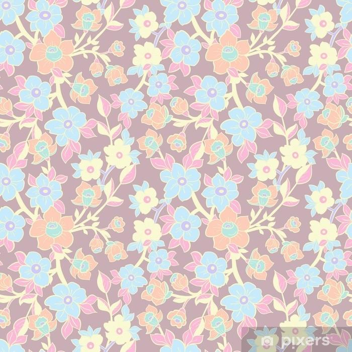 Vinil Duvar Resmi Çiçeksiz dikiş deseni. Çiçeklerin çizilmiş çizimi. tekstil, baskı, duvar kağıtları, sarma için vektör arka plan. - Grafik kaynakları