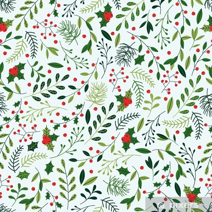 Christmas Pattern.Seamless Christmas Pattern With Mistletoe Spruce Branches Green Leaves And Berries Wall Mural Vinyl
