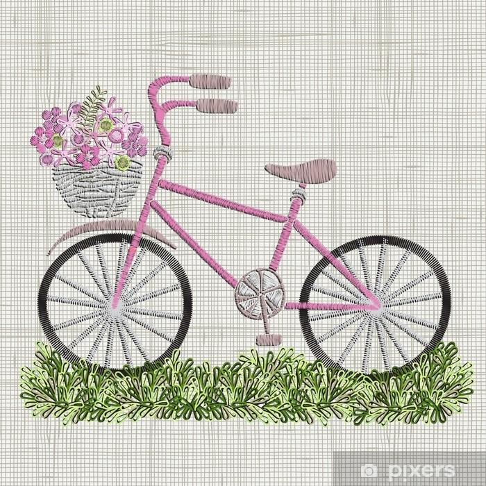 Fotomural Bordado de bicicleta con flores de color rosa en la cesta ...