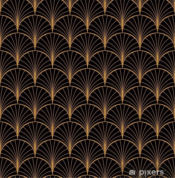Pixerstick Sticker Vector bloemenart nouveau naadloos patroon. geometrische decoratieve bladeren textuur. retro stijlvolle achtergrond. - Grafische Bronnen