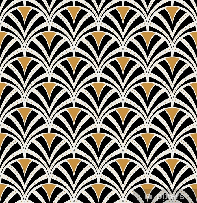 Raamsticker Vector bloemenart nouveau naadloos patroon. geometrische decoratieve bladeren textuur. retro stijlvolle achtergrond. - Grafische Bronnen