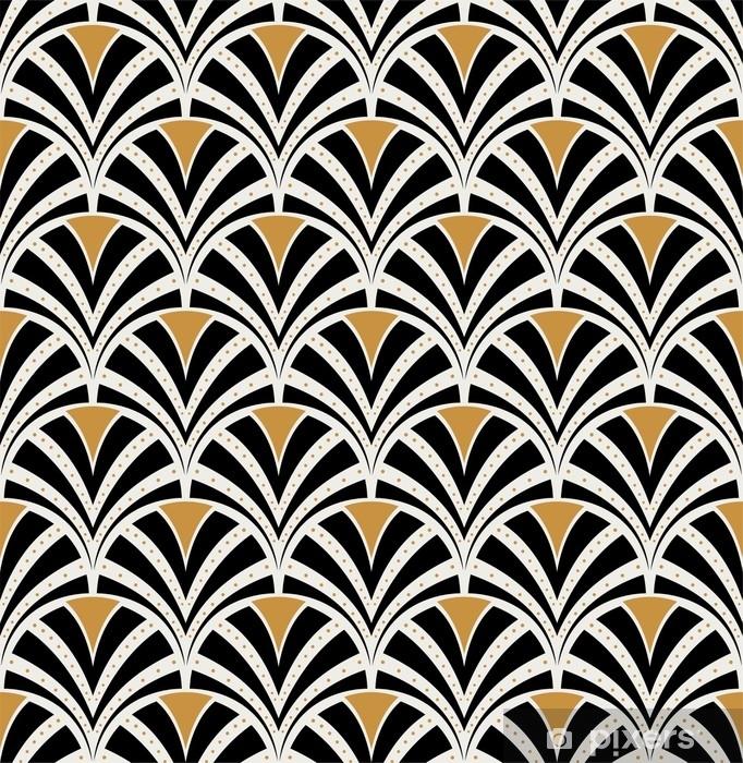 Vector Floral Art Nouveau Seamless Pattern. Geometric decorative leaves texture. Retro stylish background. Window & Glass Sticker - Graphic Resources