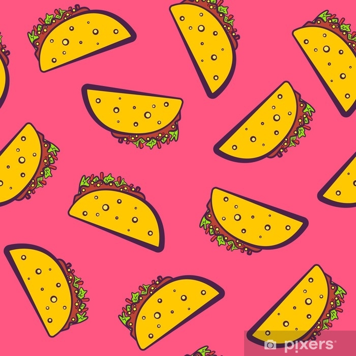 Fototapeta winylowa Kolorowy wzór z kreskówka meksykański taco na różowym tle. komiks płaski dziewczęcy pop-art tacos tekstury dla fast food włókienniczych, papier pakowy, opakowania, restauracja lub kawiarnia banery menu - Jedzenie