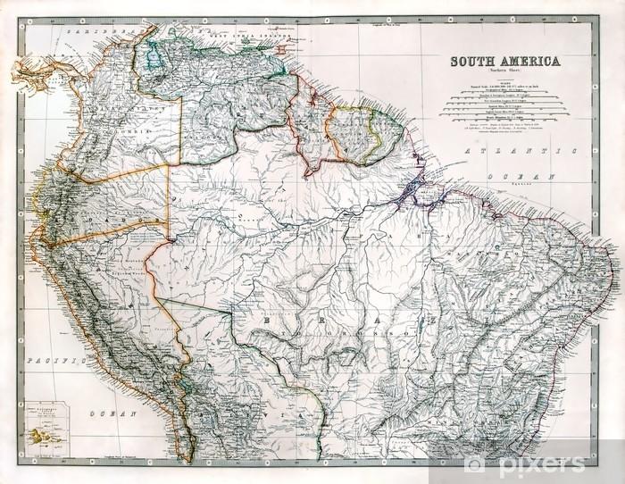 Fotomural Estándar Vintage mapa de América del Sur, impreso en 1875. - Temas