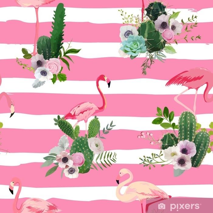 Mural De Parede Em Vinil Pássaro De Flamingo E Cactos Tropicais Florescem Fundo Padrão Retro Transparente Em Vetor