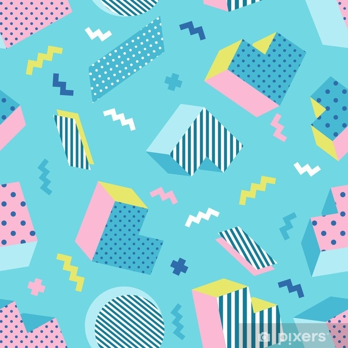 Seamless Colorful Old School Geometric Blue Background