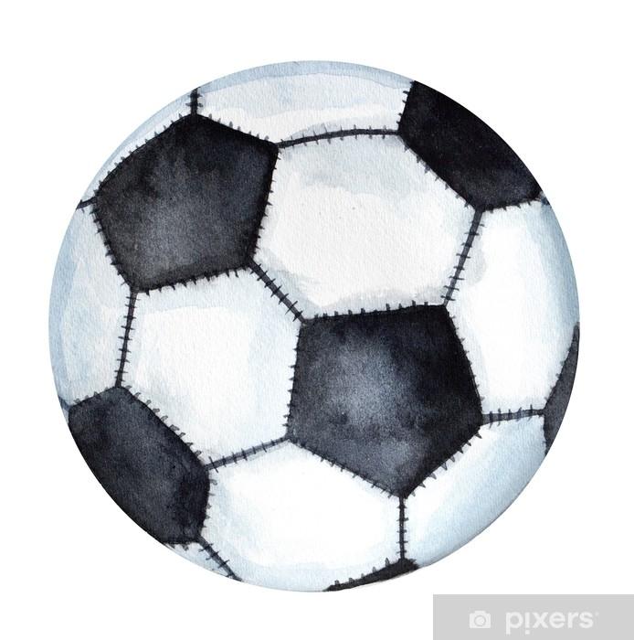 b5f487dd Fototapet av vinyl Klassisk fotball / fotballkisse tegning. et enkelt  objekt, nærbilde, svart og hvitt farger. hånd tegnet akvarell illustrasjon,  ...