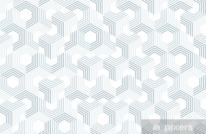 Seamless geometric pattern with hexagons and lines. Irregular structure for fabric print. Monochrome abstract background. Vinyl Wall Mural - Graphic Resources